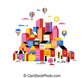 City landscape, geometric urban scene, smart city concept illustration and banner