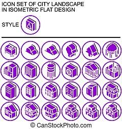 City landscape icon set,isometric flat design 170