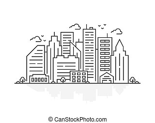 City landscape in flat style.
