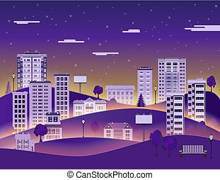 City landscape in night with multistorey apartment houses and office buildings, public park.