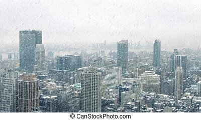City Landscape In Snowstorm