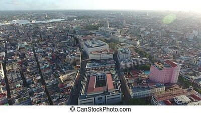 City Landscape Old Havana With Drone Flying In The Sky