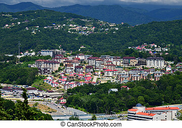 city landscape on background of mountains in Sochi in Russia