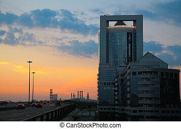 City landscape on sunset