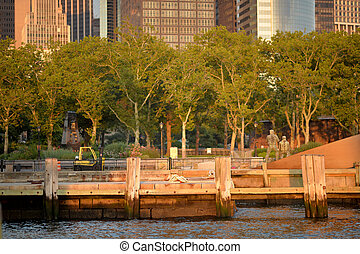 City landscape on the background of water. USA