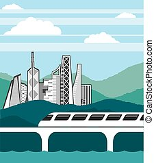 City landscape Train bridge