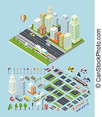 City landscape urban objects Illustrations.