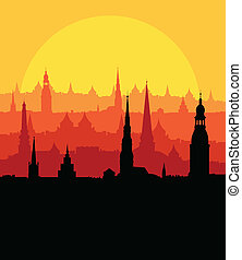 City landscape vector background in evening sunset
