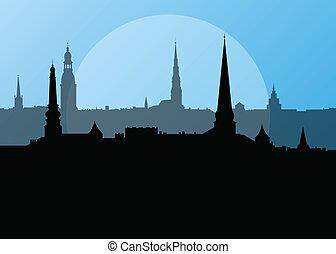 City landscape vector background in evening sunset