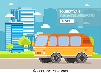 City landscape with buildings of skyscrapers and the road on which the retro the vintage van goes tourist.
