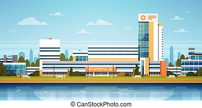 City Landscape With Hospital Building Exterior Modern Clinic View