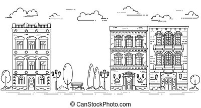 City landscape with houses cafe trees park Line art