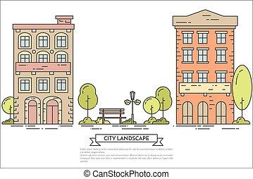 City landscape with houses, central public park. Line art