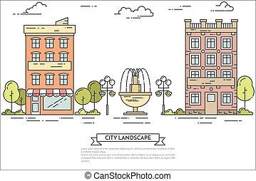 City landscape with houses, central public park. Line art