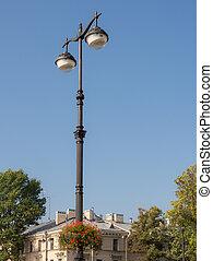 city lantern with flowers