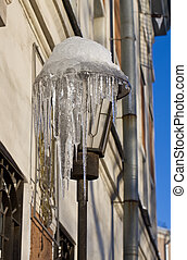 City lantern with icicles