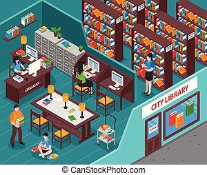 City Library Isometric Illustration