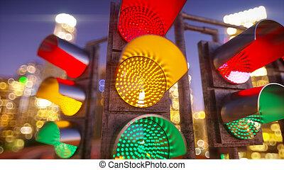 city., licht, modern, abbildung, verkehr, 3d