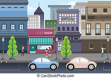 City life - A vector illustration of city life