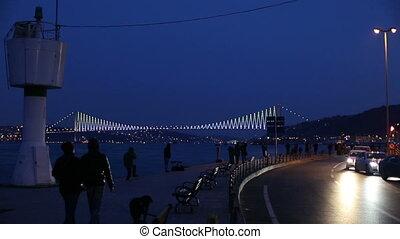 city life at istanbul - Bosphorus Bridgewith city traffic at...