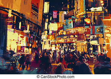 city life at night - painting of city life at night,people...