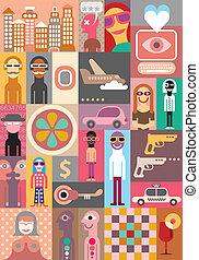 City Life - vector illustration. Pop art collage.