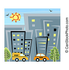City life - A scene from the city life with houses and cars