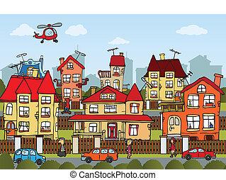 City life - Vector illustration of hand drawn comics city