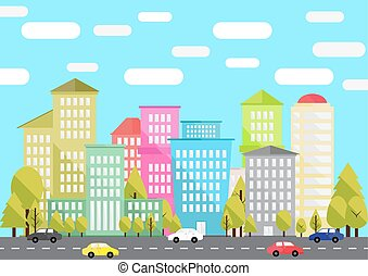 City Life - city life, flat design, vector illustration