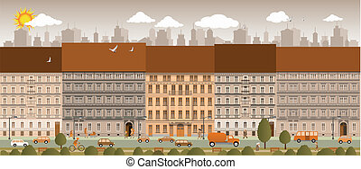 City life - Vector illustration of city life in retro colors