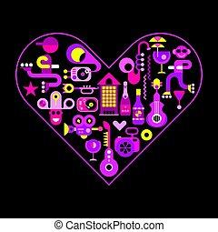 City Life heart shape vector illustration.