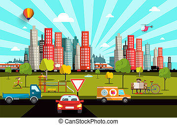 City Life in Park with People, Skyscrapers Skyline on Background with Train, Cars and Trees. Vector Day in Town Illustration.