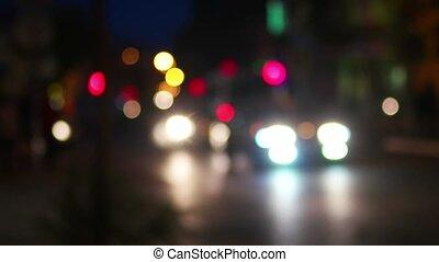 City life in the night defocused shot.