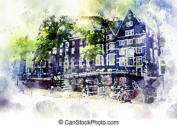 city life in watercolor style - Old Amsterdam