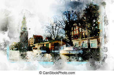 city life in watercolor style