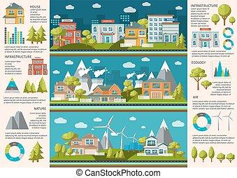City Life Infographics - City life infographics with social...