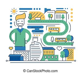 City life - vector modern line flat design city composition with vehicles and happy male