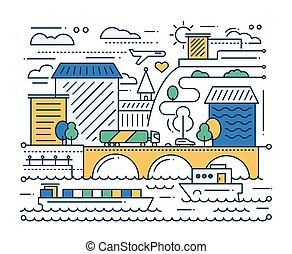 City Life - line design composition - City life - vector...