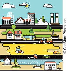 City life minimalism illustration concept