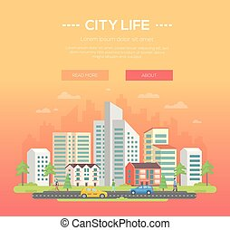 City life - modern vector illustration with place for text...