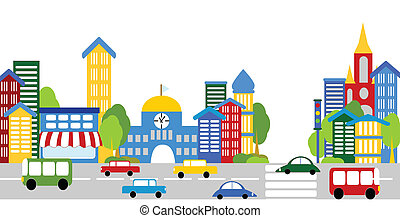 City life, streets, buildings, cars - City steet, vector...