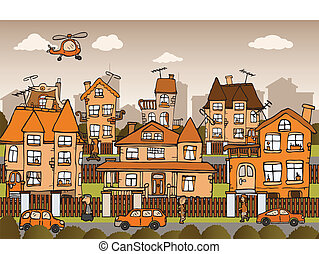 City life - Vector illustration of hand drawn city in retro...