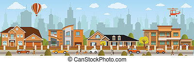 Vector illustration of city street scenery (people, cars)