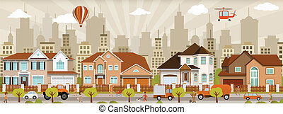 Vector illustration of colorful city (people, cars)