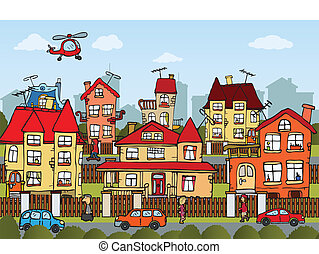 City life - Vector illustration of hand drawn comics city