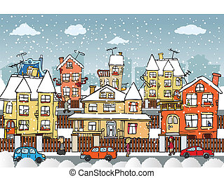 City life - Vector illustration of hand drawn small city...