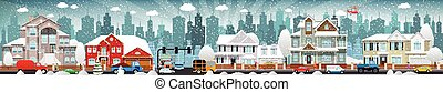 City life (winter) - Vector illustration of city life...
