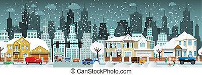 City life (Winter) - Vector illustration of winter city life...