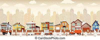 Vector illustration of city in the winter