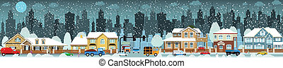 Vector illustration of city in the winter (people, cars, houses)